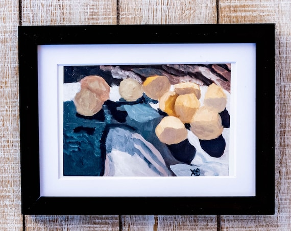 Lemons From the Tree, Oil Painting Print, Wall Decor, White Mat, Black Frame, Rustic Frame, 5 x 7, 8 x 10, 11 x 14