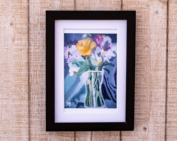 Spring Bouquet, Oil Painting Print, Wall Decor, White Mat, Black Frame, Rustic Frame, 5 x 7, 8 x 10, 11 x 14