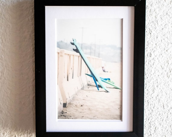 Surfboards on Sandy Beach, Color Photograph, White Mat, 5 x 7 Black Frame, 8 x 10 Black Frame, 8 x 10 Rustic Frame, 11 x 14 Black Frame