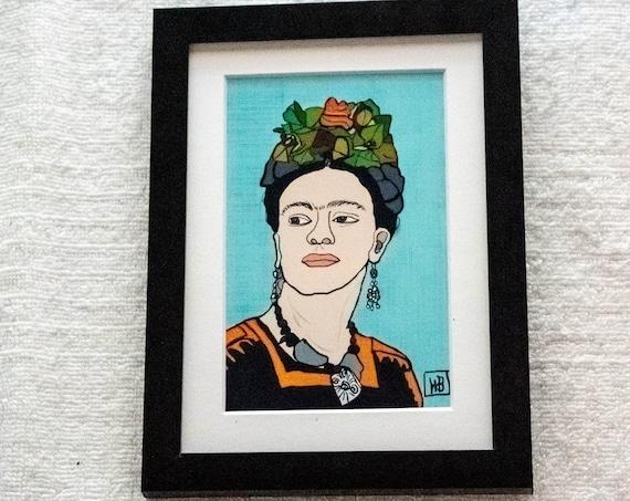 Frida Kahlo Print, Wall Decor, Color Illustration Print, White Mat, Black Frame, 5 x 7 Print, 11 x 14 Print