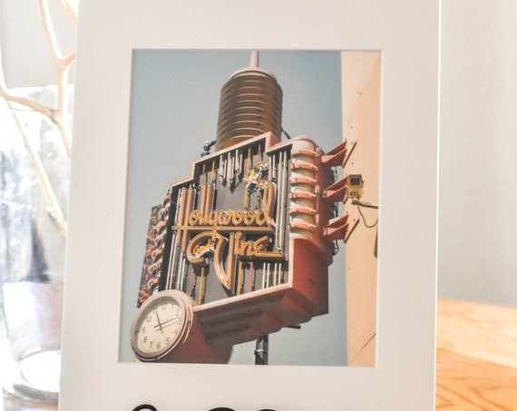 Hollywood & Vine Sign, Color Photo, Wall Decor, White Mat 11 x 14 Photo, 5 x 7 Photo