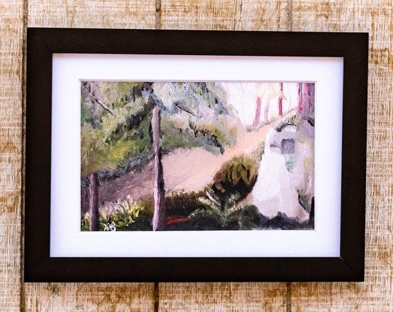 Oil Painting Print, North Bend, Wall Decor, White Mat, Black Frame, 5 x 7 Print