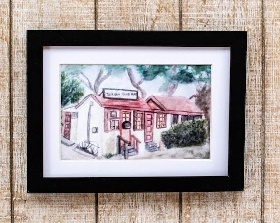 Malibu Print, Topanga Ranch Motel, Watercolor Print, Urban Sketch, Wall Art, White Mat, 5 x 7 Print
