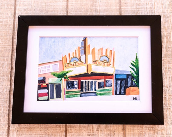 The Crest Theater, Color Print, Los Angeles, Movie Theater, Wall Decor, White Mat, Black Frame, Rustic Frame, 5 x 7 Print, 8 x 10 Print