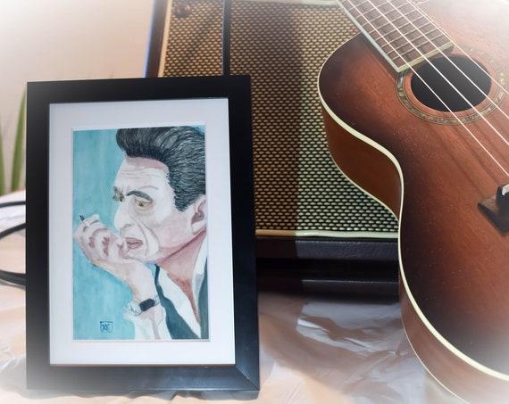Johnny Cash Art Print, Watercolor Print,Wall Decor, Wall Art,  5 x 7 Print, 11 x 14 Print, white mat, Black Frame