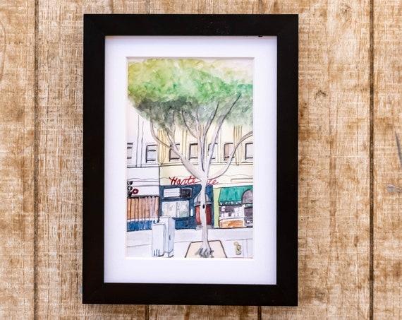 Watercolor Print, SantaMonica, Wall Decor, White Mat, Black Frame, 5 x 7 Print