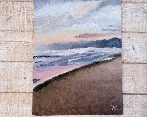 Venice Beach, Venice Sunset, Oil Painting, Original Painting, Wall Decor, Linen Panel Board, 9 x 12