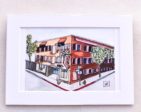 Hotel La Jolla Watercolor Print, Urban Sketch, Wall Art, 5 x 7 Print, 11 x 14 Print, White Mat