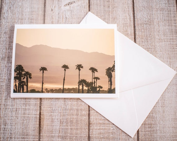 Desert Sunrise, Coachella Valley, Photo Greeting Card,  Blank Card, Personalized Card, 5 x 7 Card