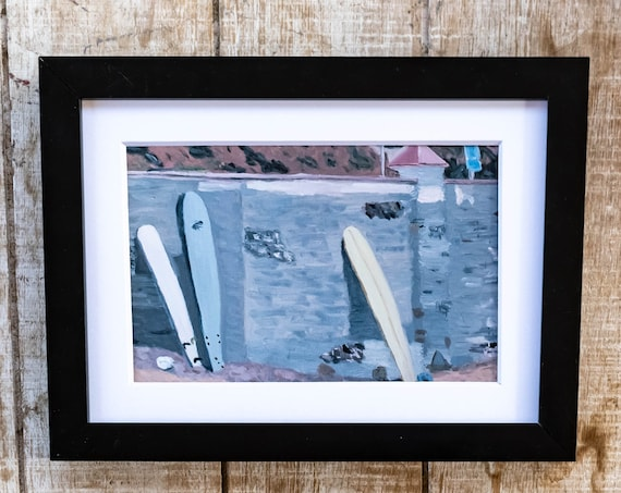 Surfboards on the Beach, Oil Painting Print, Wall Decor, White Mat, Black Frame, 5 x 7 Print