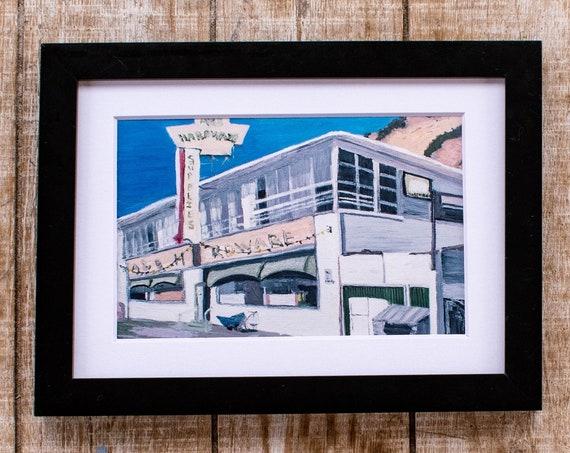 Hardware Store, Oil Painting Print, Wall Decor, White Mat, Black Frame, 5 x 7 Print