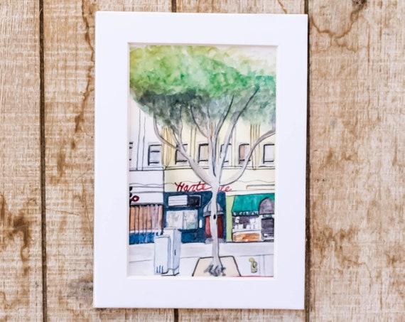 Santa Monica Watercolot Print, Wall Art, Urban Sketch, White Mat, 5 x 7 Print