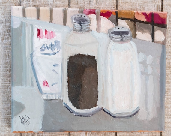 At the Table, Oil Painting, Original Painting, Salt and Pepper, Wall Decor, Canvas Painting, 8 x 10