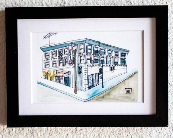 The Continental Hotel, Wall Decor, Los Angeles Print, Watercolor Print, White Mat, Black Frame, 5 x 7 print, 11 x 14 Print