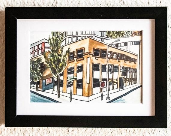 Watercolor Print, Wall Decor, Seattle Labor Temple, white mat, Black Frame, 5 x 7 Print, 11 x 14 Print