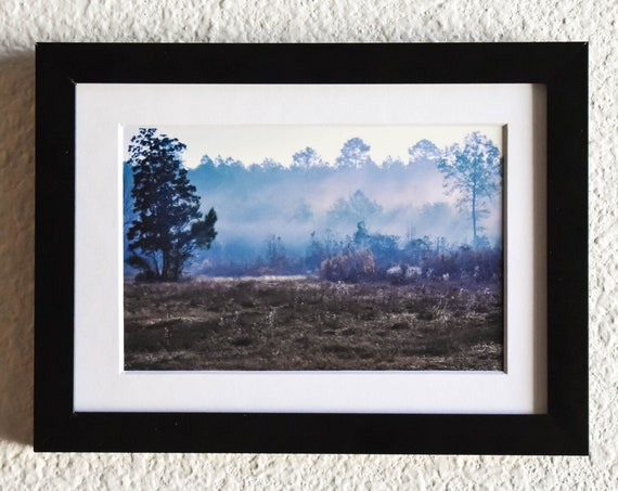 Misty Morning, Color Photograph, Wall Decor, White Mat, Black Frame, 5 x 7 Photograph