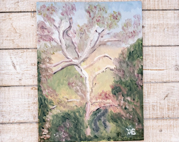 Tree Landscape, Oil Painting, Original Painting, Linen Panel Board, Wall Decor, 9 x 12