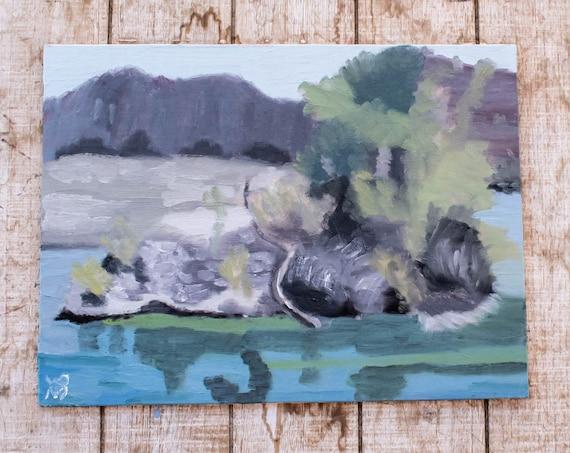 Lake Havasu. Oil Painting, Original Painting, Wall Decor, 9 x 12 Painting