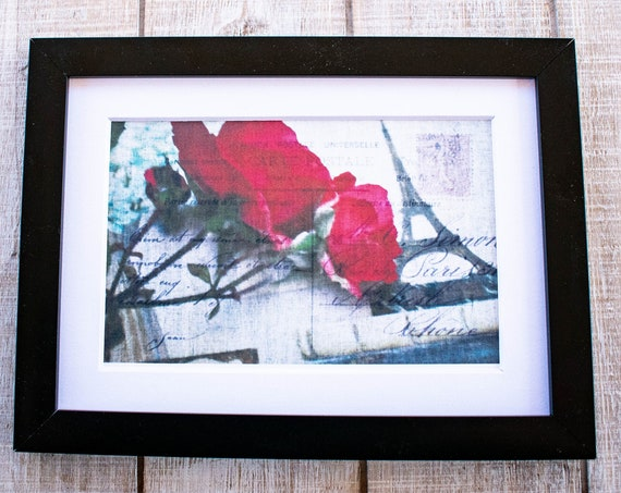 Red Rose, Photo Collage, Wall Decor, White Mat, Black Frame, 5 x 7 Photo