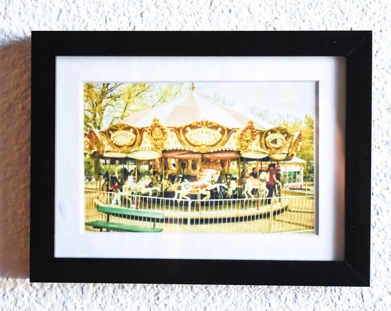 Merry-Go-Round, Color Photo, Wall Decor, White Mat, Black Frame, 5 x 7 Photo