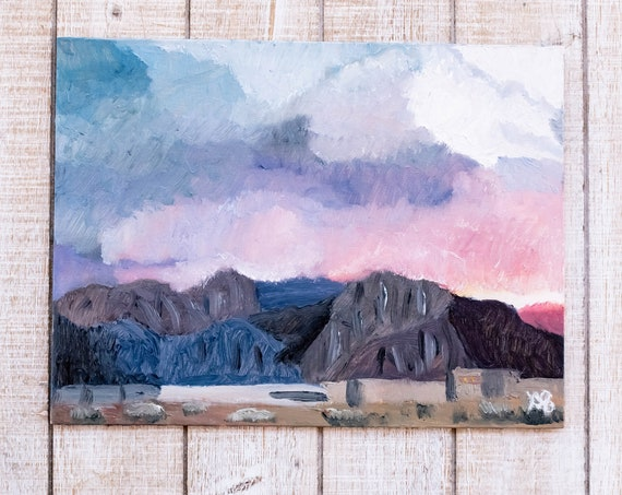 Indio Sky, Oil Painting, Original Painting, Desert Painting, Wall Decor, Linen Panel Board, 9 x 12