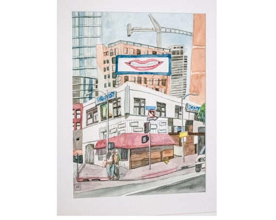 Los Angeles original Watercolor Painting, Wall Art, 20x 16 Painting, White Frame
