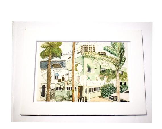 Patrick's Roadhouse Watercolor Print, Urban Sketch, Wall Art, 5 x 7 Print, 11 x 14 Print, White Mat