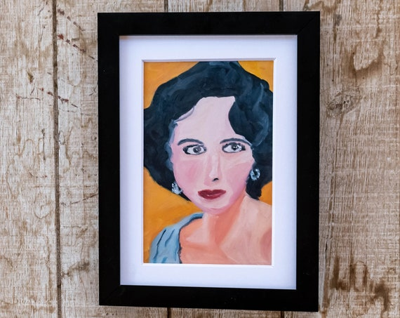 Elizabeth Taylor, Oil Painting Print, Wall Decor, White Mat, Black Frame, 5 x 7 Print