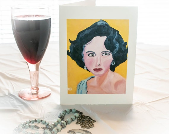 Movie Star, Greeting Card, Oil Painting, Blank Card, Envelope, 5.5 x 7.5 Card