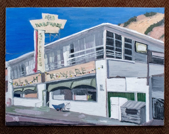 Malibu Hardware Store, Oil Painting, Original Art, Wall Decor, Cotton Canvas, 18 x 24 Painting