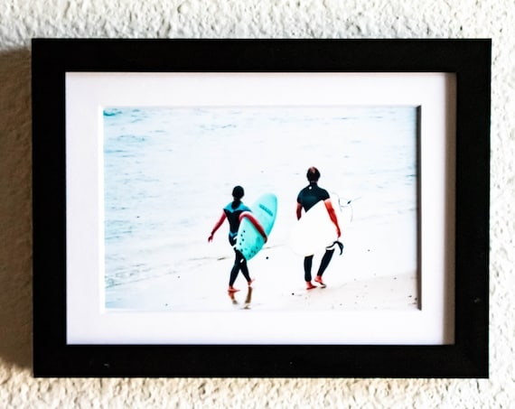 Surfers with Boards, Color Photo, Wall Decor, White Mat, Black Frame, 5 x 7 Photo, 11 x 14 Photo