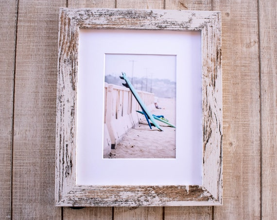 Surfboards on Beach, Color Photograph, Wall Decor, White Mat, 8 x 10 Rustic Frame