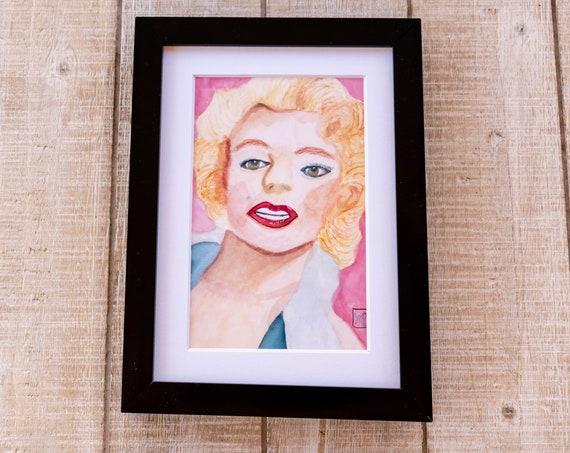 Marilyn Monroe, Color Print, Wall Decor, White Mat, Black Frame, Rustic Frame, 5 x 7 print, 8 x 10