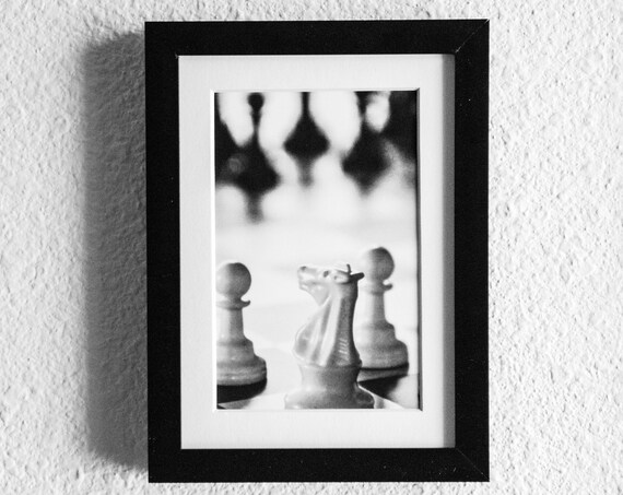 Chess Board, White Knight, Black and White Photo, White Mat, Black Frame, 5 x 7 Photo, 11 x 14 Photo
