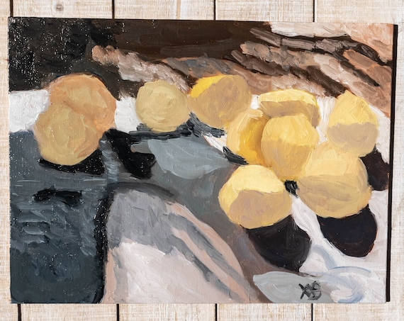 Lemons From the Tree, Oil Painting, Original Painting, Wall Decor, 9 x 12 Painting, Linen Panel Board
