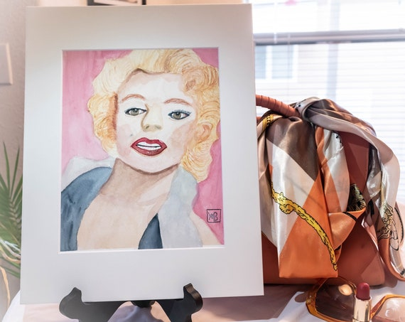 Marilyn Monroe, Original Watercolor Painting, Wall Decor, White Mat, 11 x 14 Painting