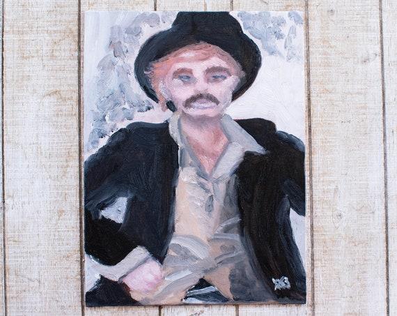 Sundance Kid, Oil Painting, Portrait Painting, Original Painting, Wall Decor, 9 x 12 Painting