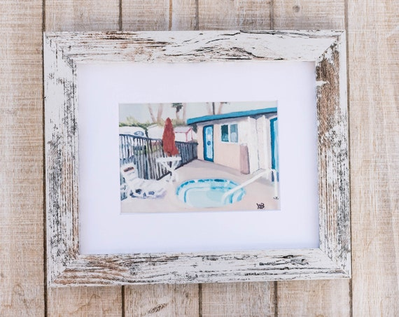 Oil Painting Print, Pool House, Wall Decor, White Mat, Black Frame, Rustic Frame, 5 x 7 Print, 8 x 10 Print