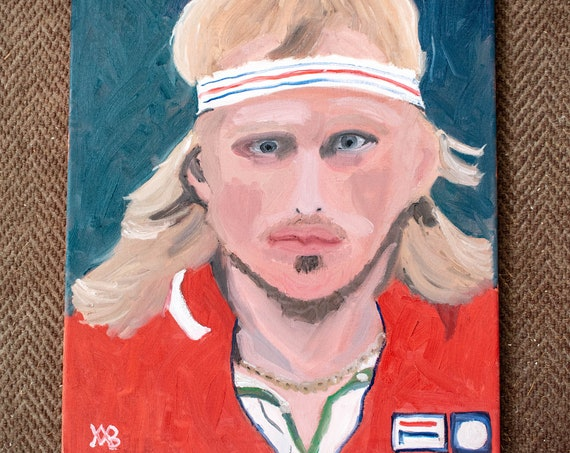 Bjorn Borg, Original Painting, Oil Painting, Portrait Painting, Stretched Canvas, 20 x 16 Painting