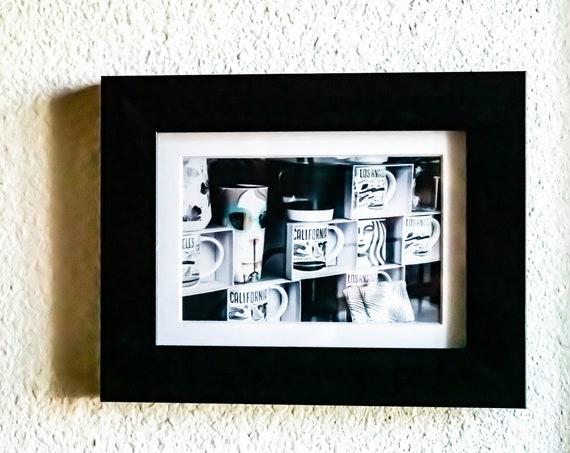 Starbucks Window Photo, Wall Art, White Mat, Black Frame, 5 x 7 photo