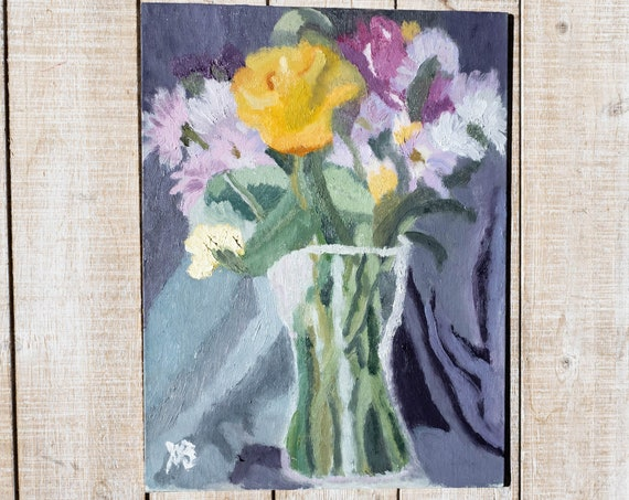 Spring Bouquet, Oil Painting, Original Painting, Wall Decor, 9 x 12, Linen Panel Board
