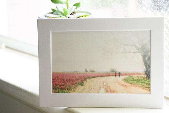 Tulip Field Photograph, Wall Decor, Color Photograph, Landscape Photograph, White Mat, 5 x 7 Photograph