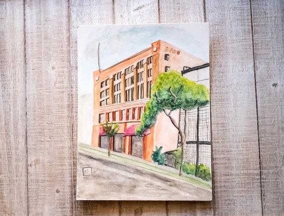 Main Street Santa Monica , Original Watercolor Painting, Wall Decor, White Mat, Black Frame, 11 x 14 Painting
