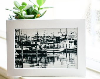 Seattle Fishing Boats,  Black and White Photograph, Wall Decor, White Mat, 5 x 7 Photo