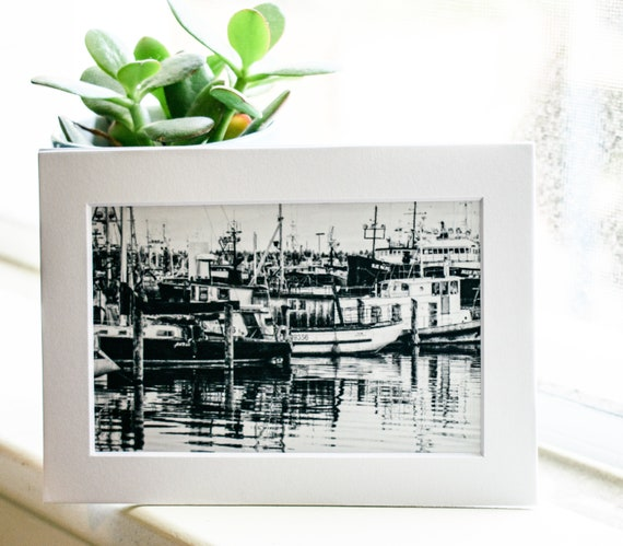 Seattle Fishing Boats,  Black and White Photograph, Wall Decor, White Mat, 5 x 7 Photo