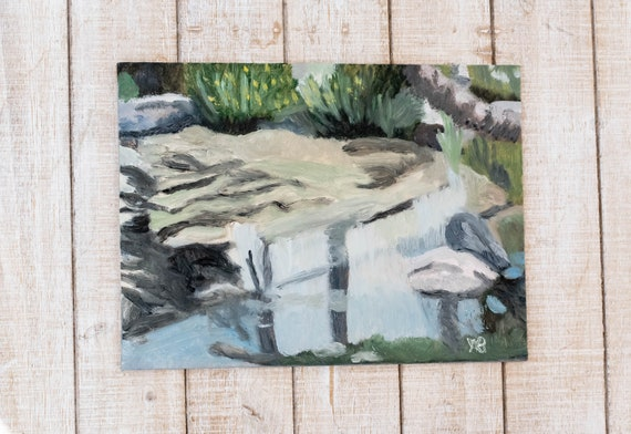 Shield's Pond, Oil Painting, Original Painting, Wall Decor, Linen Panel Board, 9 x 12