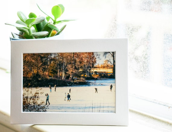 Ice Skaters Color Photograph, Wall Decor, Winter Scene photograph, Autumn colors, 5 x 7 photograph, white mat