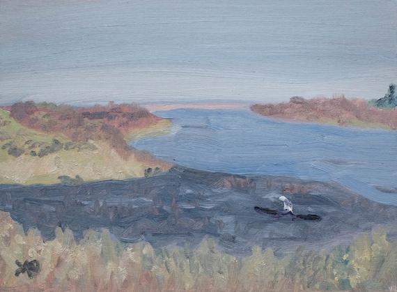 Malibu Lagoon, Oil Painting, Original Painting, Wall Decor, Linen Panel Board, 9 x 12 Painting