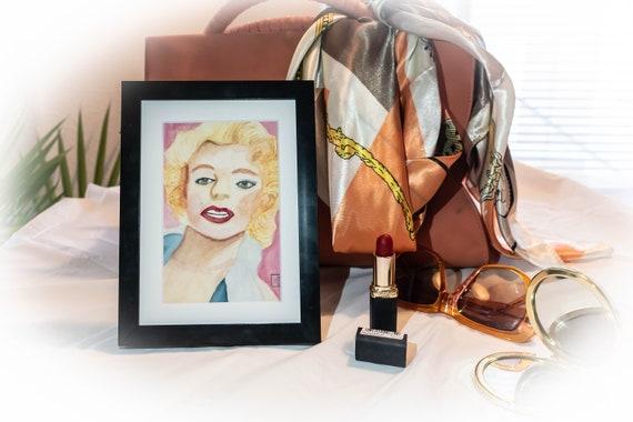 Marilyn Monroe, Watercolor Print, Wall Decor, White Mat, Black Frame, Rustic Frame, 5 x 7 print, 8 x 10