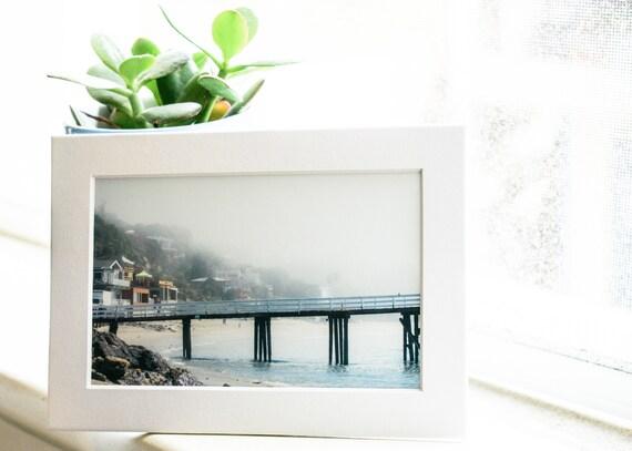 Dock at Paradise Cove, Malibu Photograph, Color Photograph, Wall Decor, White Mat, 5 x 7 Photo